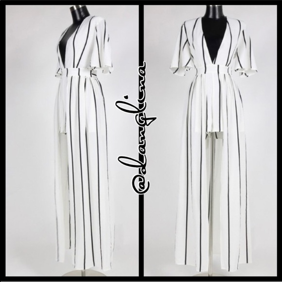 8a80431792f Black and white striped maxi romper short sleeves